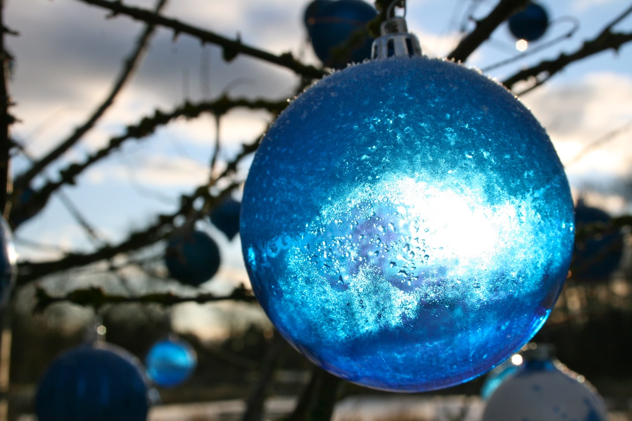 Sunlight through frosty bauble